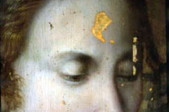 Detail of the Madonna's face before conservation