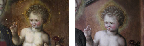 Comparison of child after cleaning, and after restoration