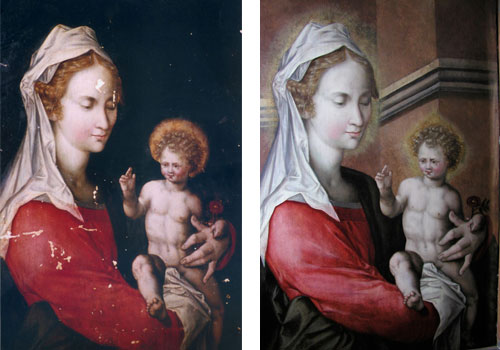 Comparison of complete painting before and after restoration